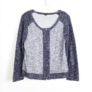 J Crew woven tweed cotton cardigan zipped textured